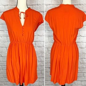 Maeve Anthro Solid Orange Short Sleeve Mini Dress